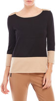 Cable & Gauge Three-Quarter Sleeve Color Block Sweater