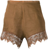 Ermanno Scervino lace trim shorts - women - Linen/Flax/Polyester - 40