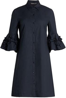 Lela Rose Ruffle Stretch-Cotton Shirtdress