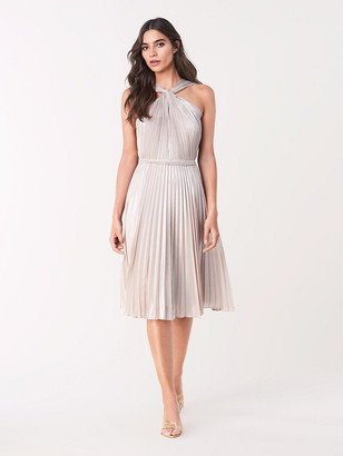Diane von Furstenberg Jinnie Pleated Chiffon Faux-Halter Dress