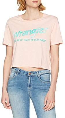 Wrangler Women's Crop Tee T-Shirt, (Chalk Pink Wg), Medium