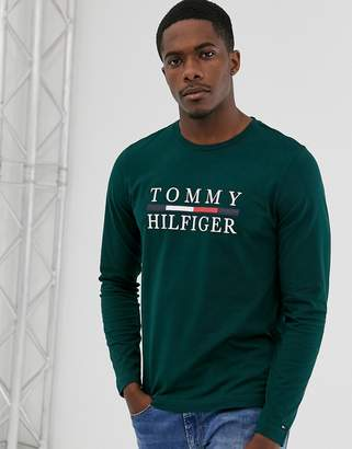 Tommy Hilfiger large chest logo long sleeve t-shirt in green