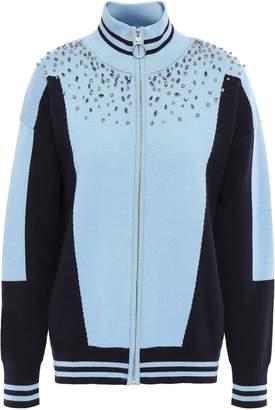 Sandro Crystal-embellished Jacquard-knit Cardigan
