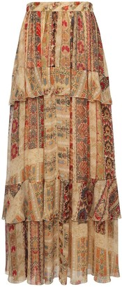 Etro Printed Georgette Ruffled Maxi Skirt
