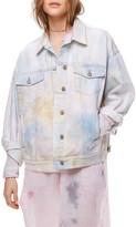 Free People Women's Tie Dye Denim Trucker Jacket