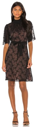 Rebecca Taylor Short Sleeve Vine Embroidery Dress