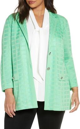 Ming Wang Check Jacquard Jacket