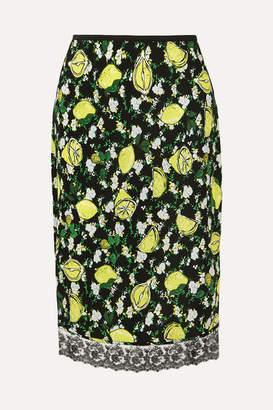 Diane von Furstenberg Chrissy Lace-trimmed Printed Silk Crepe De Chine Skirt - Green