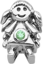 Persona Sterling Silver Green Crystal May Girl Charm Bead Fits European Charm Bracelets