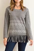 Entro Gray Fringe Sweater