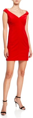 Theory Paneled Off-Shoulder Stretch Velvet Dress