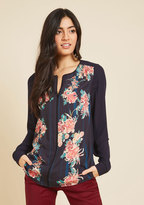 Podcast Co-Host Top in Navy Floral in L