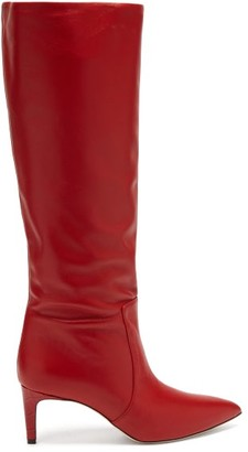 Paris Texas Crocodile-effect Heel Leather Knee-high Boots - Red