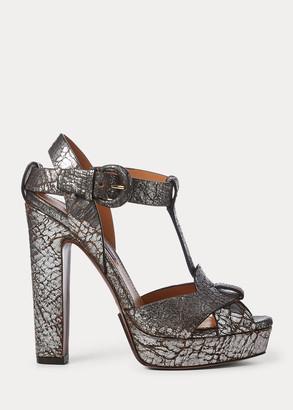 Ralph Lauren Kerrey Leather T-Strap Sandal