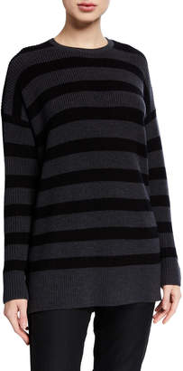 Eileen Fisher Petite Striped Crewneck Merino Wool Tunic Sweater