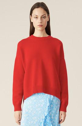 Ganni Cotton Knit Oversized Pullover