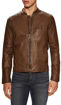 John Varvatos Leather Washed Racer Jacket