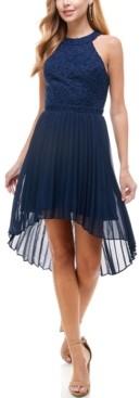 City Studios Juniors' Glitter-Lace High-Low Dress