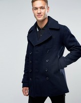 Mens Double Breasted Slim Peacoat - ShopStyle