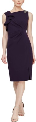 Slny Ruffled Embellished Ruched Sheath Dress