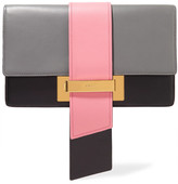 Prada Metal Ribbon Large Color-block Leather Clutch - Gray