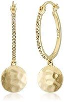 "Judith Jack Elegant Evening"" Gold Plated Sterling Silver/Hammered Textured Hoop Earrings"