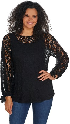Dennis Basso Lace Bateau Neck Tunic with Knit Tank