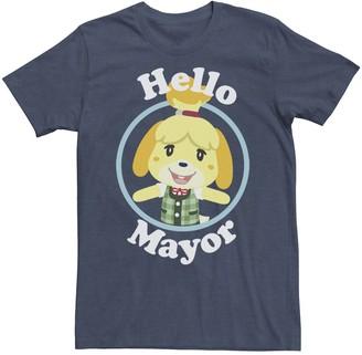 Isa Belle Men's Animal Crossing Isabelle Hello Mayor Portrait Graphic Tee