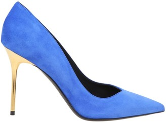 Balmain Decollete In Suede And Cobalt Color