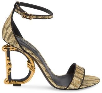 Dolce & Gabbana Sculpted-Heel Jacquard Sandals