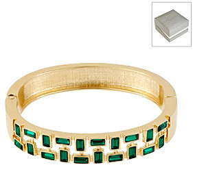 Kenneth Cole Green Baguette Cut-Out Hinged Bangle Bracelet in a Gift Box