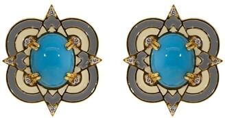 BUDDHA MAMA 20kt Yellow Gold, Turquoise Enamel And Diamond Stud Earrings