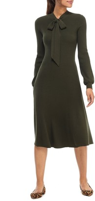 Gal Meets Glam Brianna Tie Neck Long Sleeve Sweater Dress