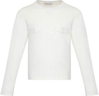 Moncler Girl's Long-Sleeve Block Logo T-Shirt, Size 8-14