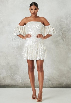 Missguided White Sequin Frill Sleeve Mini Dress
