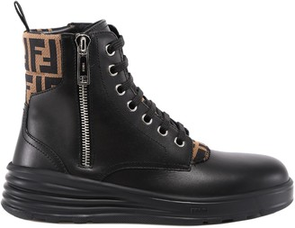 Fendi FF Monogram Detail Combat Boots