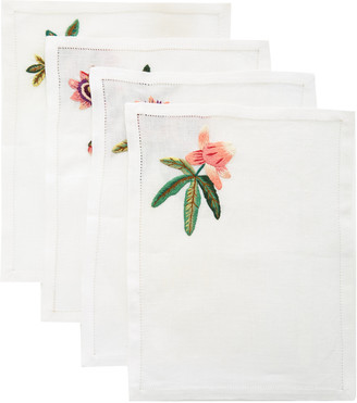 Ibaba Rwanda Set-Of-Four Embroidered Linen Cocktail Napkins