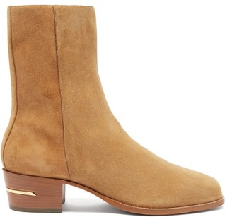 Amiri Square-toe Suede Ankle Boots - Brown