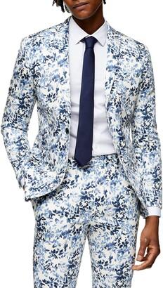 Topman Floral Skinny Fit Suit Blazer