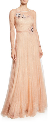 Marchesa Long-Sleeve Glitter Tulle Gown with Beaded Floral Appliques & Bow