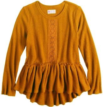 So Girls 4-20 Crochet Peplum Tee