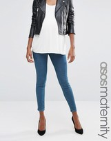 Asos Rivington Jegging in Beau Tinted Blue With Under The Bump Waistband