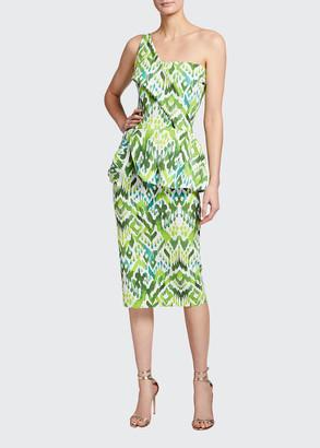 Chiara Boni Ikat Printed One-Shoulder Peplum Dress