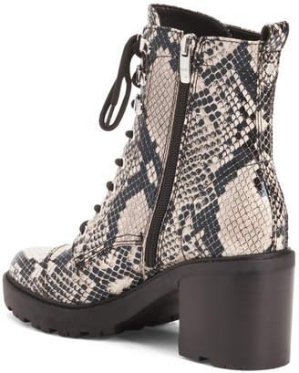 Snake Lace Up Lug Sole Boots