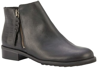 Walking Cradles Kason (Black Light Tumbled/Dressy Croco) Women's Zip Boots