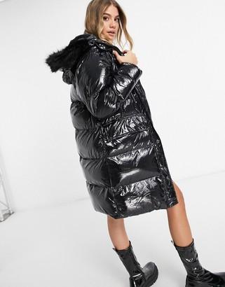 Brave Soul jayne high shine longline puffer jacket
