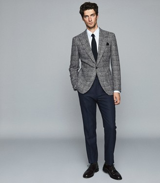 Reiss Aston - Checked Single Breasted Blazer in Grey