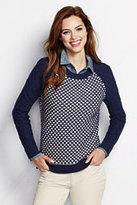 Classic Women's Petite Cotton Open Crewneck Sweater-Ivory