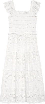 Sea Daisy Smocked Cotton Eyelet Dress