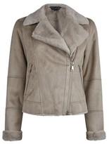Dorothy Perkins Womens Taupe Soft Shearling Biker Jacket